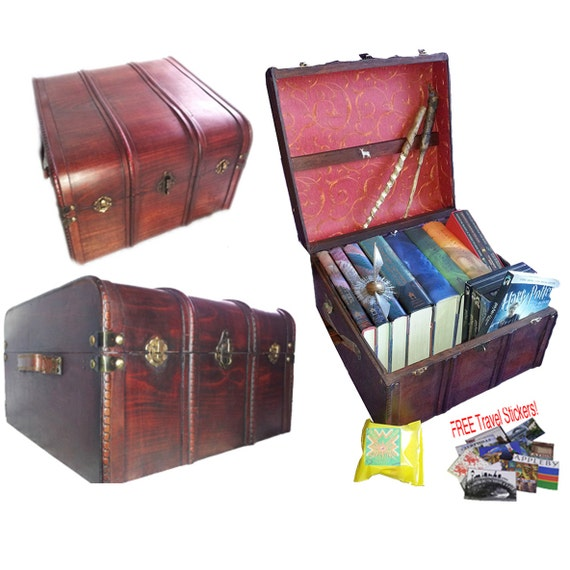 Harry Potter Book Trunk ~ Hogwarts patronus book and dvd trunk all wood by keenefx