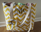 Large Beach Bag - Sunshine Yellow Chevron Beach Tote - Water Resistant Lining - Interior Pocket