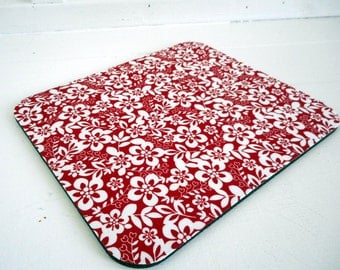 fabric mousepad / mouse mat / red floral