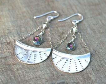 Mystic Pink Topaz Gemstone Hill Tribe Sterling Silver Chandelier Earrings