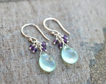 Aqua Blue Chalcedony and Amethyst Gemstone Wire Wrapped Sterling Silver Handmade Earrings