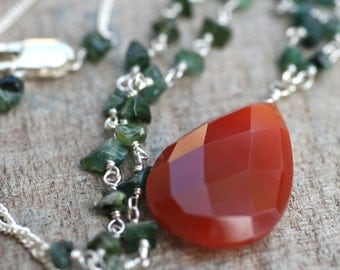 Carnelian and Green Tourmaline Gemstone Sterling Silver Handmade Long Necklace, 24 Inches
