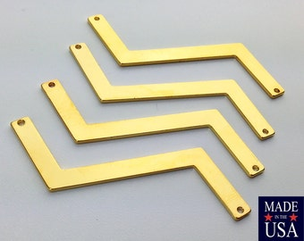 2 Hole Gold Plated Z Shaped Zigzag Connector Pendants (4) mtl269G
