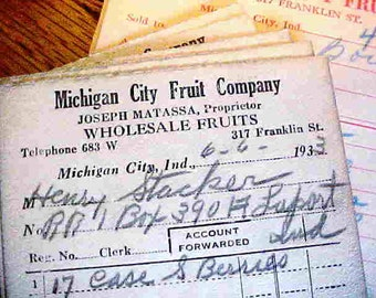 10 Store Receipts from Michigan City Fruit Co., Michigan City, Ind. Joseph Matassa, Proprietor-- 9 are dated 1933 and 1 is dated 1932.