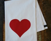 Red Heart - Hand Printed Tea Towel - Cotton