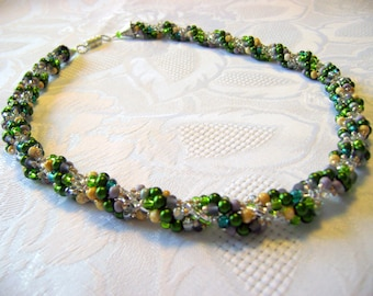 Maize green pearl yellow spiral rope necklace