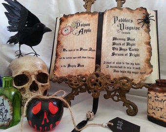 Evil queen witch Snow White poison apple peddlers disguise altered spell Book prop Halloween