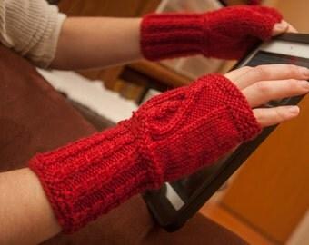 Red Celtic Heart Fingerless Gloves