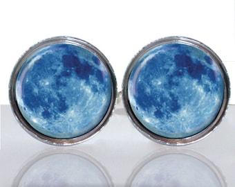 Round Glass Tile Cuff Links - Full Blue Moon CIR111