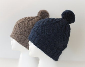 Hat, Beanie, Hand Knit Hat, Knit Hat Beanie, Wool Slouchy Hat, Women Knit Hat, Navy Hat