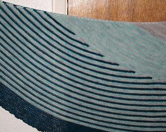 Hand Knit Striped Shawl - Blue & Gray Crescent
