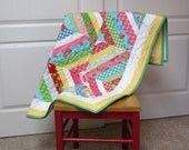 Quilt Sale - Modern Baby Quilt, Toddler Quilt, Nursery Quilt, Lap Quilt, Minky Cuddle backing