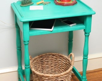 Solid Wood Tall Telephone Table ~ Charging Station ~ Emerald Isle Green ~ Refinished