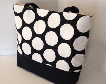 Jumbo Dot Tote . Black and White  . Standard size .  beach bag  . great teacher or bridesmaid gifts .  Monogramming Available