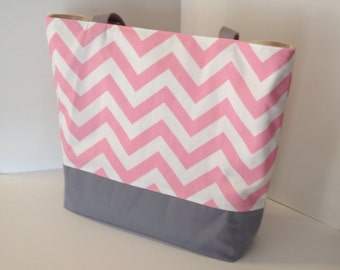 Chevron tote . Chevron beach bag . Cotton Candy Pink and gray . standard size . great bridesmaid gifts .  monogramming available