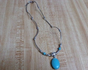 Turquoise Tibetan Silver Oval Pendant Beads Chain Necklace