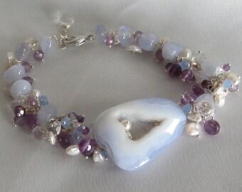 Druzy Jewelry - Quartz Bracelet - February's Birthstone - Chalcedony Bracelet - Statement Jewelry