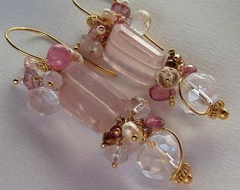 Pink Quartz Chandelier  Earrings - Pink Tourmaline Earrings