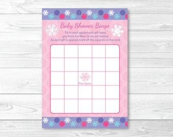Pink Snowflake Baby Shower Bingo Cards INSTANT DOWNLOAD