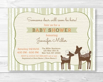 Cute Woodland Deer Baby Shower Invitation / Deer Baby Shower Invite / Woodland Baby Shower Invite / Gender Neutral / PRINTABLE