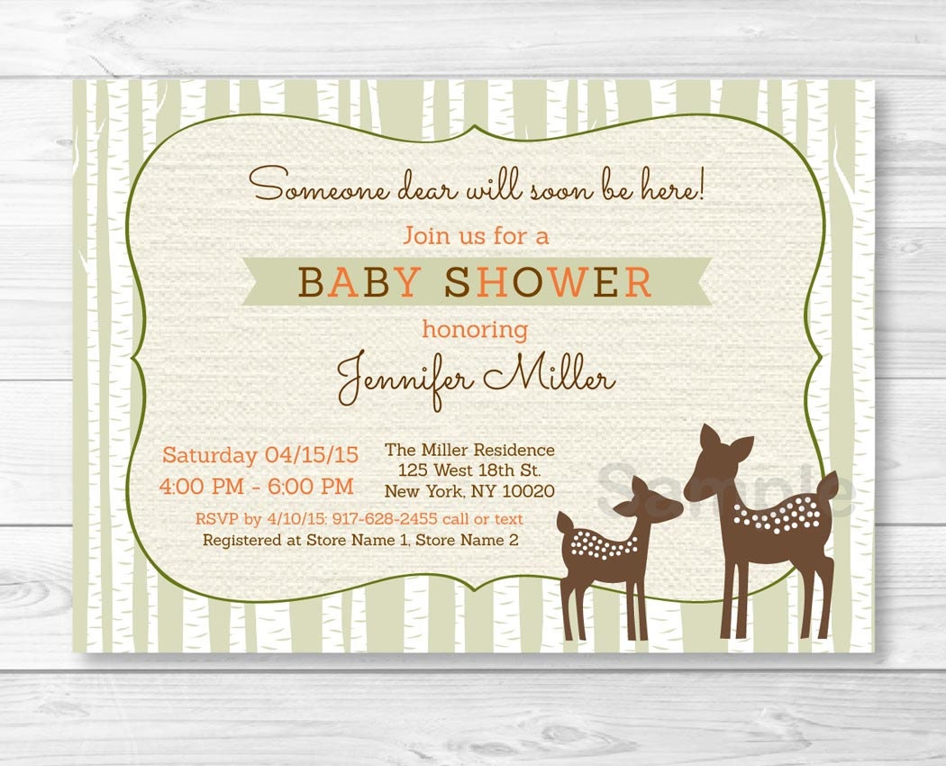 cute woodland deer baby shower invitation deer baby shower