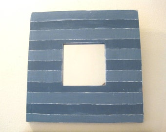 Two Toned Blue Striped Wall Mirror
