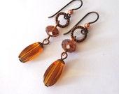 Amber Glass Dangle Earrings, Copper Circles, Hypoallergenic Niobium Hooks
