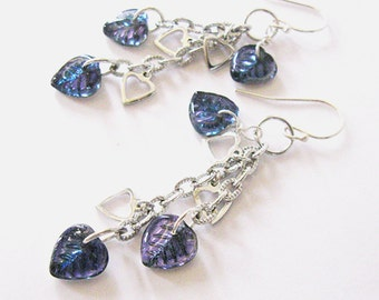 Blue Violet  Hearts, Long Dangle Earrings, Czech Glass Hearts, Chain of Hearts
