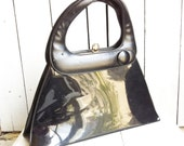 Vintage Bags by Francois of California - Black Patent Leather Structural Purse Kelly Bag - Hard-sided