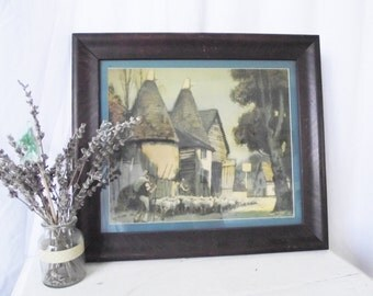 Vintage Antique Picture - Framed Art - Walnut Frame - Folk Shepherd Village