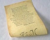 Message in a Bottle, Linen Fabric Scroll, Individual Message, Wedding Vows Scroll