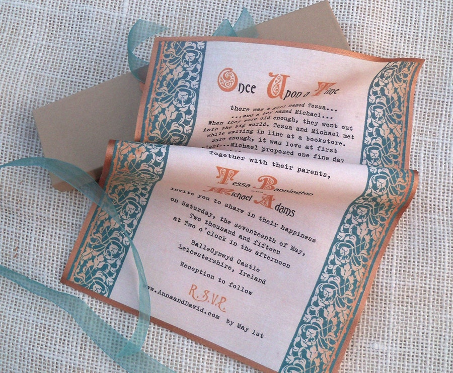 medieval wedding invitation scroll with celtic knots on fabric