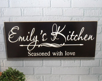 Personalized Kitchen Seasoned with Love Wall Wood Sign Plaque DESIGN YOUR OWN