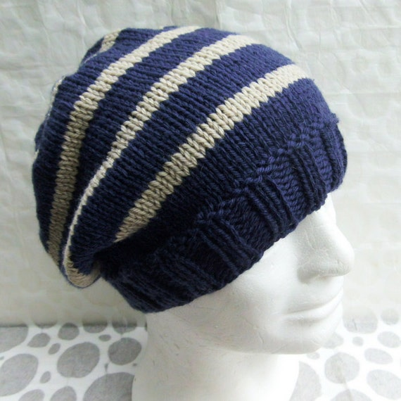 Striped Beanie Knitting Pattern : KNITTING PATTERN/CAMPUS Mans Striped Slouch Hat/Knit
