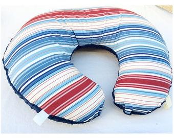 NAUTICAL  BOPPY COVER / Zipper closure / Striped cotton fabric / Blue minky dimples