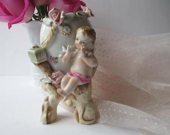 Sweet Vintage Porcelain Pink Cherub Vase
