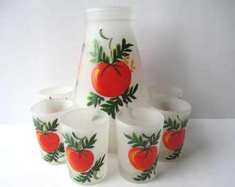 Vintage Hazel Atlas Frosty Tomato Juice Tumblers Six and Pitcher, Retro, Country Style