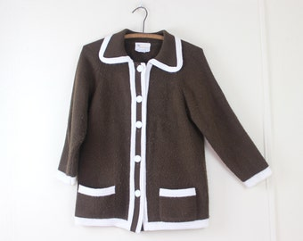 vintage MOD button up Cardigan Sweater - brown + ivory, coffee + cream, chocolate + vanilla, Primstyle by Woolworth - size medium to large