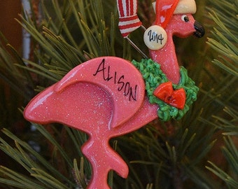 Personalized Pink Flamingo Ornament