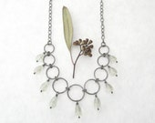 green amethyst and silver necklace, elegant boho necklace, metalwork necklace