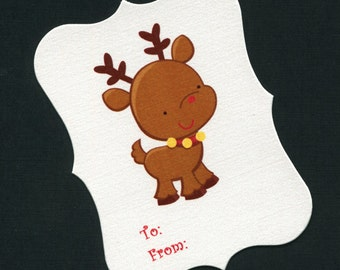 12 Christmas Gift Tags - To And From Tags - Christmas Tags - Favor Tags - Cookie Tags - Bag Tags - Reindeer