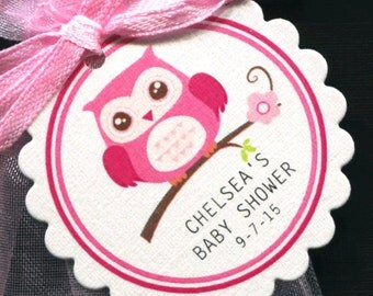Personalized Baby Girl Baby Shower Favor Tags - Baby Shower Favor Tags - Baby Girl Shower - Favor Tags - Owl Baby Shower - Pink Owl - 50