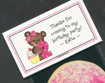 Girls Birthday Party Favors - Favor Bag - Bag Labels - Goody Bag - Treat Bag - Candy Bag - Second Birthday - Personalized - Bear - 20