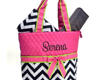 Personalized Diaper Bag Chevron Black White Hot Pink Quilted Monogrammed