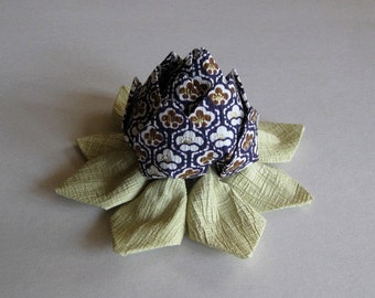 Origami Lotus Flower - Chirimen Washi Crepe Paper in Purple, Brown and Gold, Momigami, Anniversary, Hostess Gift, Birthday Gift, Table Decor