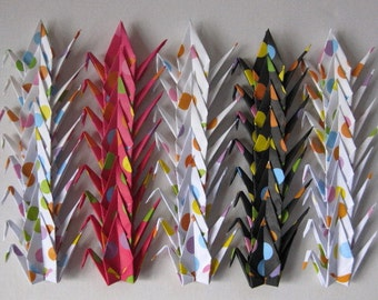 "40 Small Chiyogami Cranes - Polka Dots (5 designs), 3"" (7.5 cm) Japanese Chiyogami, Origami Paper Cranes, Chiyogami Cranes, Handmade"