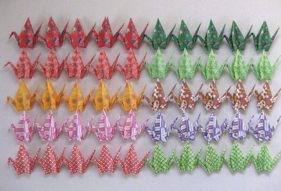 50 Japanese Washi Chiyogami Paper Cranes in Assorted Design