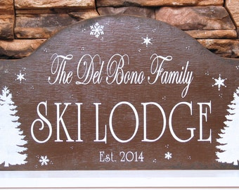 SKI Lodge sign, personalized wooden family winter cottage sign, rustic ski lodge sign, rustic winter sign, cabin decor