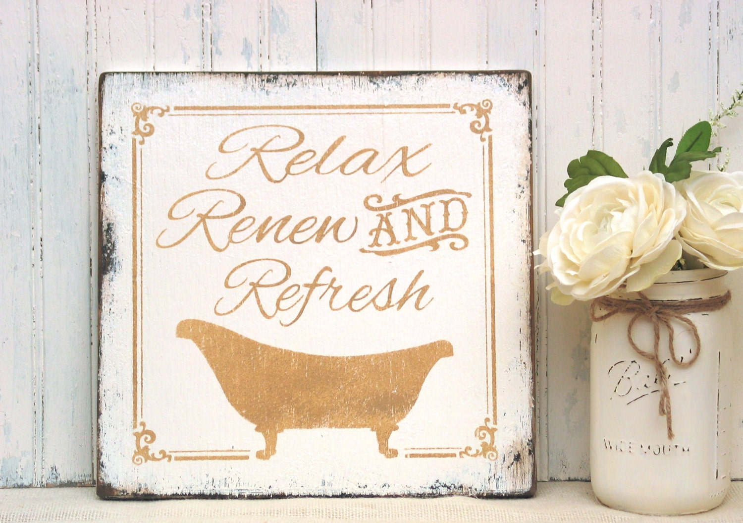 Relax renew refresh bathroom sign rustic wood bath sign for Renew bathroom