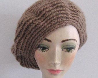 beret . crochet beret . Nougat Beret  . Hand Crochet . brown beret